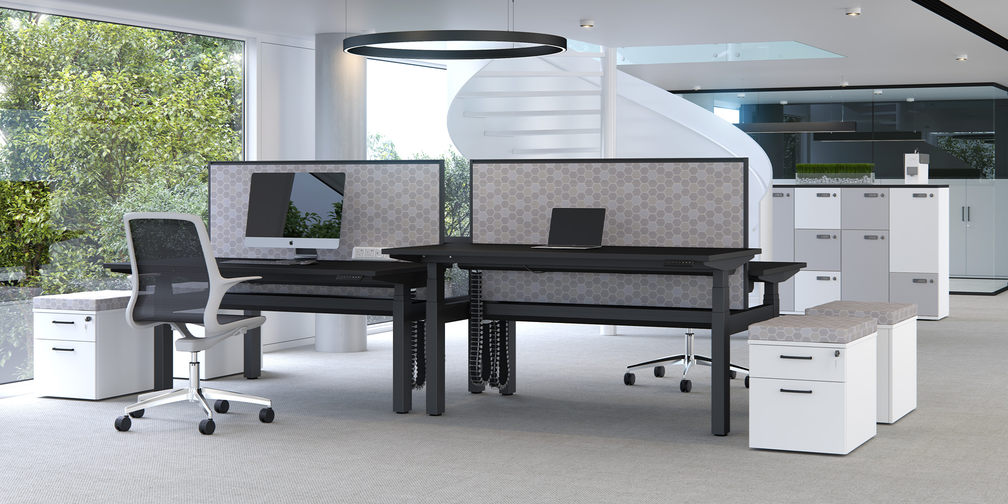System Desk Mounted Screens Roomset